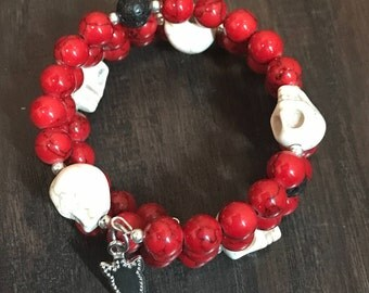 Red with Skulls Memory Wire Bracelets
