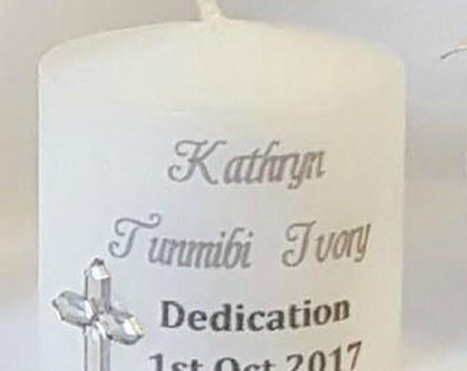 Dedication naming candle personalised and wrapped in tulle