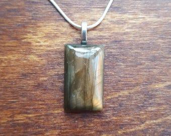Labradorite silver necklace - gemstone necklace - birthstone necklace - gift necklace - birthday present - flashy labradorite - pendant - 29