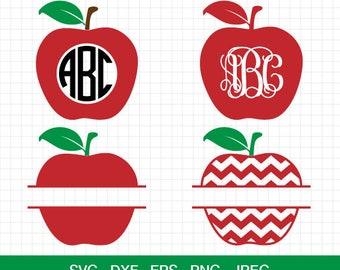 Apple SVG, Chevron Apple svg, Apple Monogram svg, Teacher svg file, Back to School SVG, Split Apple Svg, for Silhouette & CriCut