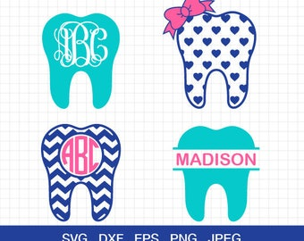 Dentist Svg, Teeth Svg, Dentist Tooth Svg, Dentist Monogram Frames Svg, Svg Files, Cut Files for CriCut & Silhouette