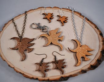 Eragon/Arya Yawë wood pendant necklace, keychain, earrings! For ERAGON and INHERITANCE CYCLE fans!