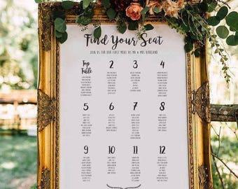Personalised Printable Wedding Seating Chart, White, Wedding Table Plan, Table planner