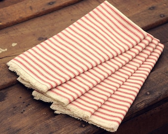 Red Ticking Cloth Napkins, Vintage, Farmhouse, Lunch or Dinner Size Napkins, Reusable, Set of 4 Cotton Napkins