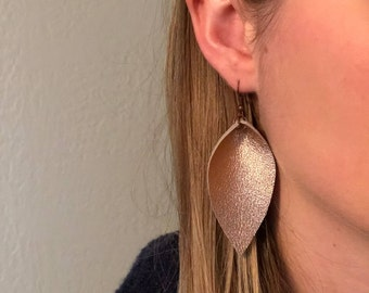 Leather Leaf Earrings: Rose Gold