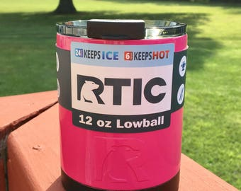 NEW RTIC 12oz Powder Coated Lowball with Spill Proof Lid-Pink or Pick your Color! Ready to Ship Today!
