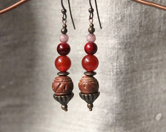 Copper earrings Jade jewelry • ethnic tribal • • Earth carved forged Bohemian jewelry gift women Boho jewelry • • • •