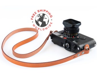 Leather camera strap (The ''minimalist'' (Caramel))
