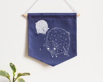 Wall banner 1 color, two sheep, indigo fabric, wall decoration, decoration, gift, baby gift, animal lover