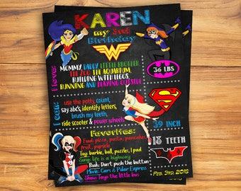 DC Superhero Chalkboard Poster/ Status Board / DC Superhero girls Birthday  / DC Chalkboard Poster / Birthday Poster / Chalkboard Sign