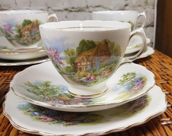 Tea cup & saucer trio Vintage ROYAL VALE  cottage garden