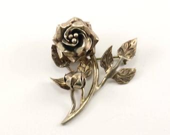 Vintage Rose Brooch 935 Sterling BB 744-E