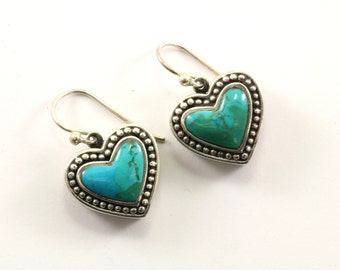 Vintage Heart Shape Navajo Turquoise Drop/Dangle Earrings 925 Sterling ER 335