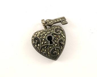 Vintage Judith Jack Heart Love Marcasite Pendant 925 Sterling Silver PD 639