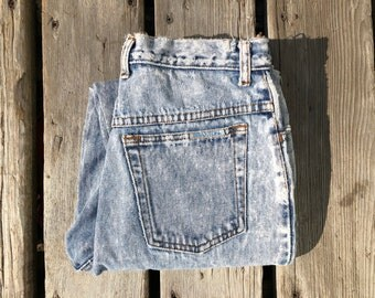 """27"""" Extra High Waist Stone Wash Braxton Distressed Vintage Jeans w Patches"""