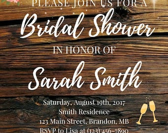Rustic Bridal Shower Invitation - Customizable Printable