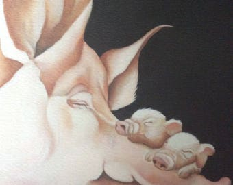 "pig and piglets painting ""Forty Winks"""