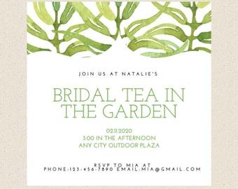 Greenery Bridal Shower Invitation, Tea Party, Printable or Printed Invitation, 5X5