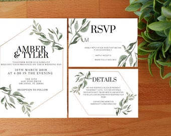 PRINTED Greenery Wedding Invitation, Minimal Wedding invitation, Printable or Printed, RSVP, Detail Card, Invitation Bundle