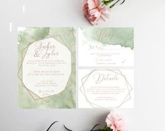 PRINTED Geometric Watercolor Wedding Invitations, Minimal Wedding Invitations, Geometric Wedding Invite, Mint Wedding Invite, Summer Invite