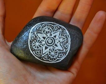 "Mandala Stone ""Fun"" , Painted Beach Stone, Rock Art, Paperweight, Stone Art, black and white"