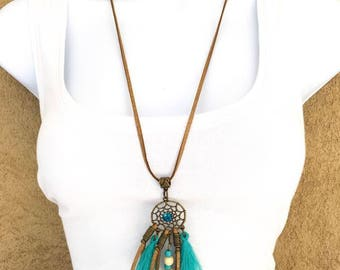 "Suede necklace ""turquoise/bronze / gold"" ""Ethnic"""