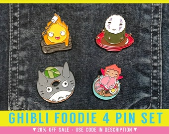 Ghibli Pin Set - Enamel Studio Ghibli Howls Moving Castle cosplay calcifer gift badge brooch pins totoro anime sprited away fan art no face