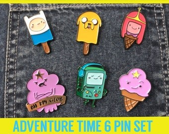 ADVENTURE TIME Pin Combo Enamel Lapel Pins - Nintendo badge brooch boyfriend denim gift fanart nerd gaming player switch retro gaymer N64