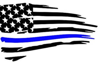 Blue Line flag, thin blue line, police flag, tattered flag, decal, tumbler police, police sticker
