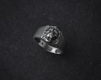 Lion Head Hexagonal Stamp Ring | silver lion | sterling silver signet ring | animal ring | leo ring | lion jewelry | signet lion ring | 925
