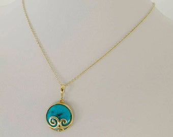 14k Gold and turquoise pendant, 14K Gold Pendant, turquoise pendant, Yellow gold pendant, Spiral pendant, solid gold, real gold for her,