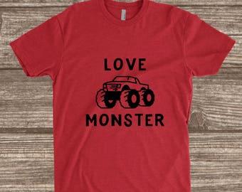 Toddler Valentines Day Shirt - Love Monster - Youth Valentines Shirts - Toddler Shirts - Toddler Boy Valentines - Monster Truck
