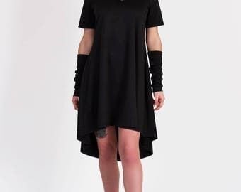 Black shift dress asymmetrical Oversized loose Dress Jersey Casual dress Boho dresses mini dress with short sleeves