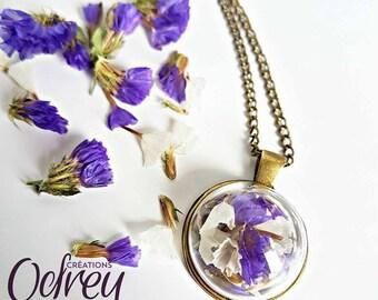 Terrarium necklace, forever pendant, vintage, flower, lucky, unique necklace, Moon jewelry
