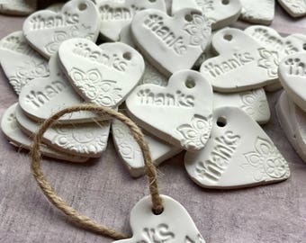 Clay Thank You Tags - Clay Gift Tags - Clay Heart Ornament Tags - Thank you Tags - Wedding Tags - Pretty Tags - Bridal Thank you Tags -