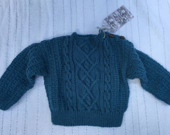 Hand-Knit Cabled Baby Sweater (3mo.)