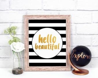 Kate Spade Baby Shower, Baby Girl Nursery Printable, Hello Beautiful,  Nursery Wall Art