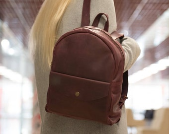 Leather Backpack Women, Vintage rucksack, Women's Backpack, Medium leather backpack women, Shoulder bag, Backpak for women laptop