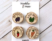 Veggie Pun Magnet Set, Food Puns, Funny Gift, Plant Lady, Gardener, Magnets, Stocking Stuffer, Wood Burned, Personalized Gifts, Unique Gifts