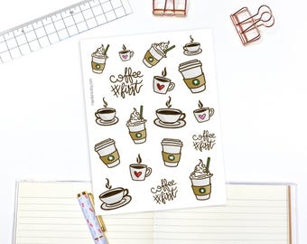 Coffee lover decorative planner and bullet journal stickers - 18 planner stickers, decorative stickers, bullet journal stickers
