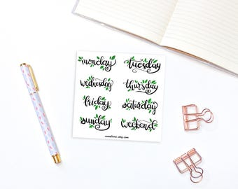 Weekdays planner stickers - 8 hand-lettered planner stickers, monday to sunday and weekend calligraphic labels, bullet journal stickers