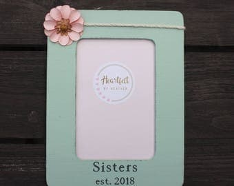 Personalized Sister Frame Gift Distressed Picture Frames Custom Photo Birthday Big Baby Pregnancy