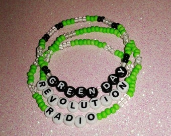 Green Day Bracelet Set / Revolution Radio / Glow In The Dark / Concert Gear / Band Jewelry / Handmade / 90s Rave / Club Kid / Punk Rock