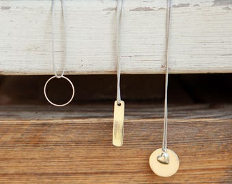 Free Shipping! Stacked Necklace, Necklaces set, 925 sterling silver pendant necklace, Layered Necklace, Thread necklace