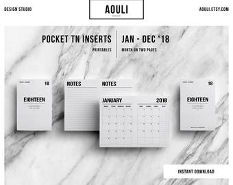 Pocket TN Insert | Pocket TN Size | Pocket TN Insert Printable | Month on Two Pages | Travelers Notebook Insert | Printable Insert
