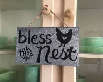 Bless This Nest Galvanized Metal Sign