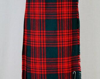 "Vintage Gor-Ray Red & Green Pleated Midi Wool Scottish Tartan Plaid Kilt Skirt S XS Waist 26"" Made in Scotland"