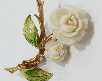 Simply Beautiful Pair of Carved Roses with Enameled Leaves Brooch
