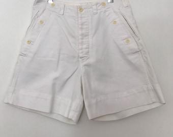 Chevignon / high waisted shorts / 80s shorts / cotton shorts / white shorts / womens shorts / vintage shorts