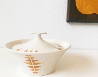 Vintage Impromptu Iroquois Ben Seibel + Orange Pyramid Pattern + Covered Dish + Sugar Bowl +  Mid Century Modern + MCM Kitchen
